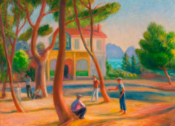 William J. Glackens Bowlers, La Ciotat, 1930 Oil on canvas Collection of NSU Art Museum Fort Lauderdale, Nova Southeastern University; gift of the Sansom Foundation 92.31