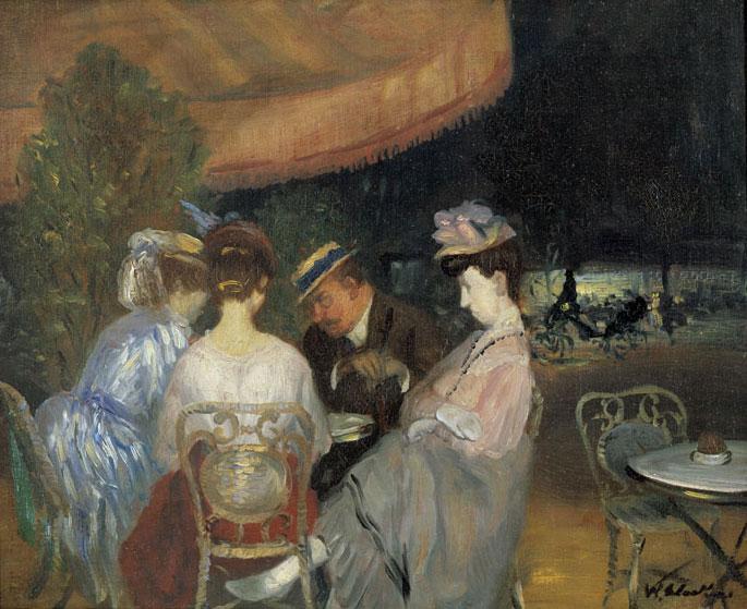 William J. Glackens Café de la Paix (Paris Café) c. 1906Oil on canvasCollection of NSU Art Museum Fort Lauderdale, Nova Southeastern University; bequest of Ira Glackens 91.40.146