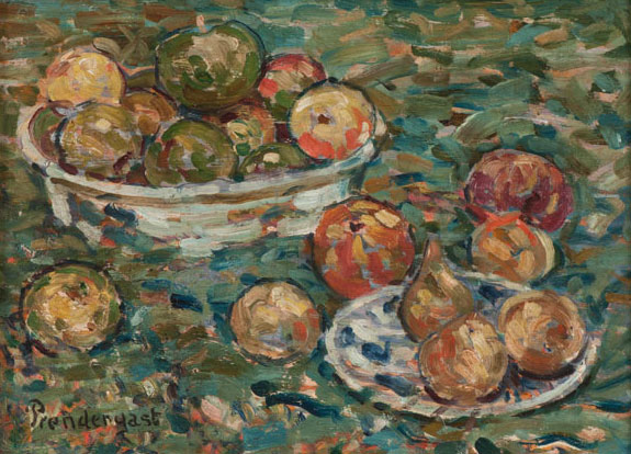 Maurice Prendergast Apple and Pears on the Grass, 1912 Oil on board Collection of NSU Art Museum Fort Lauderdale, Nova Southeastern University; bequest of Ira Glackens 91.40.109