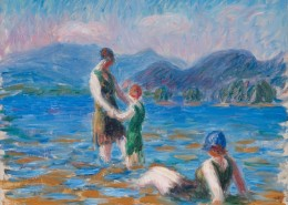 William J. Glackens, Lake Bathers, No. 2, c. 1920, Oil on canvas , NSU Art Museum Fort Lauderdale; bequest of Ira D. Glackens , 91.40.110 © 2015 NSU Art Museum Fort Lauderdale