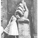 Sorelle Fontana model alongside the hand of the colossal statue of Constantine in the courtyard of the Musei Capitolini in Rome, 1952, Photo Regina Relang. Courtesy Archiv Relang, Sammlung Photographs, M.nchner Stadtmuseum. The image was part of a feature published in La Donna, June 1952