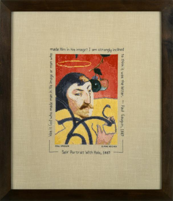 Elaine Reichek, Sampler Gauguin's Apple, 2001