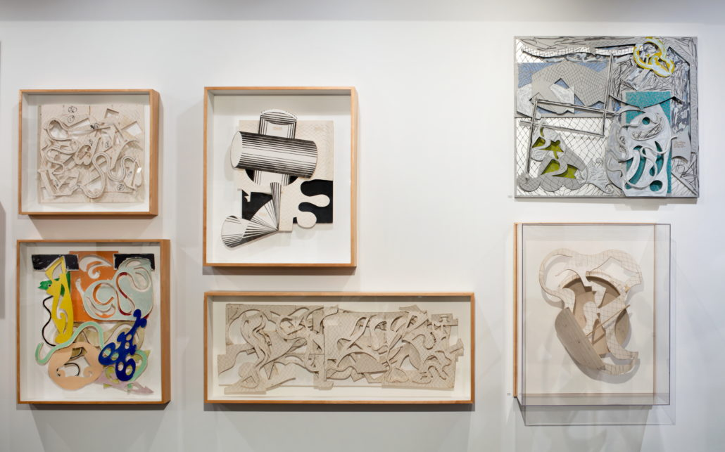 Installation view of Frank Stella: Experiment and Change at NSU Art Museum Fort Lauderdale, Gallery 14, Photo by Steven Brooke.