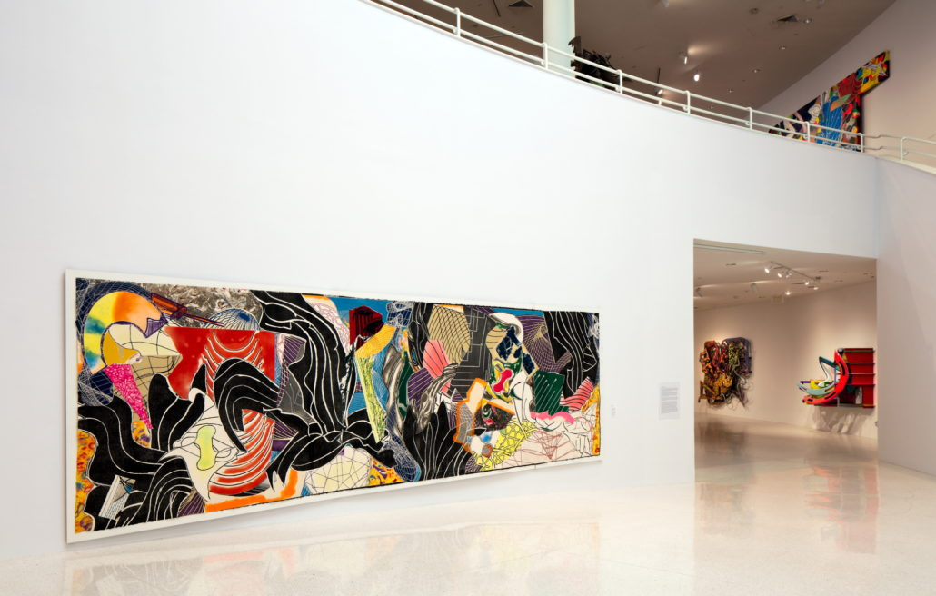 Installation view of Frank Stella; Experiment and Change at NSU Art Museum Fort Lauderdale, Atrium, Photo by Steven Brooke.