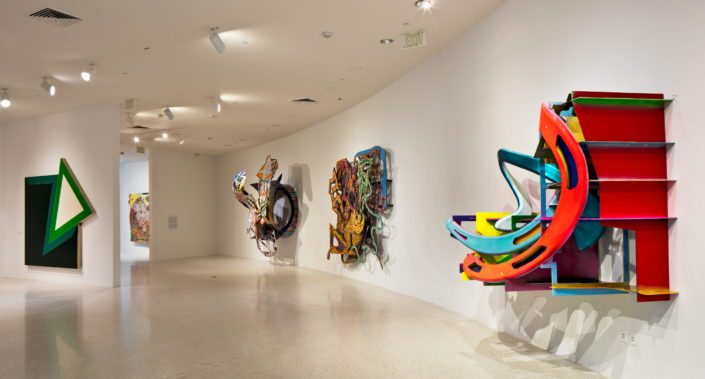 Installation view of Frank Stella; Experiment and Change at NSU Art Museum Fort Lauderdale, Gallery 1, Photo by Steven Brooke.