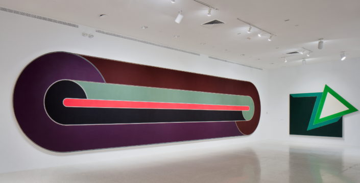 Installation view of Frank Stella: Experiment and Change at NSU Art Museum Fort Lauderdale, Gallery 1, Photo by Steven Brooke.