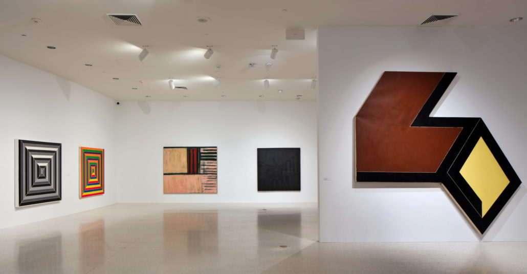 Installation view of Frank Stella: Experiment and Change at NSU Art Museum Fort Lauderdale, Gallery 1 and 2, Photo by Steven Brooke.