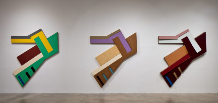 Installation view of Frank Stella: Experiment and Change at NSU Art Museum Fort Lauderdale, Gallery 9, Photo by Steven Brooke