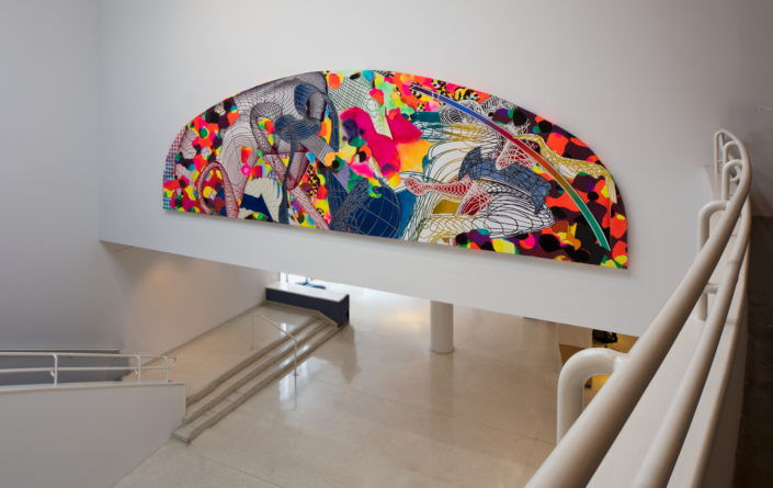 Installation view of Frank Stella: Experiment and Change at NSU Art Museum Fort Lauderdale, Atrium, Photo by Steven Brooke