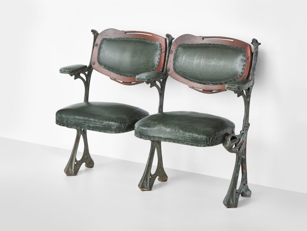 Hector Guimard Theater Chairs for the Humbertde Romans Concert Hall, Paris, 1900 Cast iron, leatherette Lent by The Wolfsonian-Florida International University, Miami Beach, Florida, The Mitchell Wolfson, Jr. Collection
