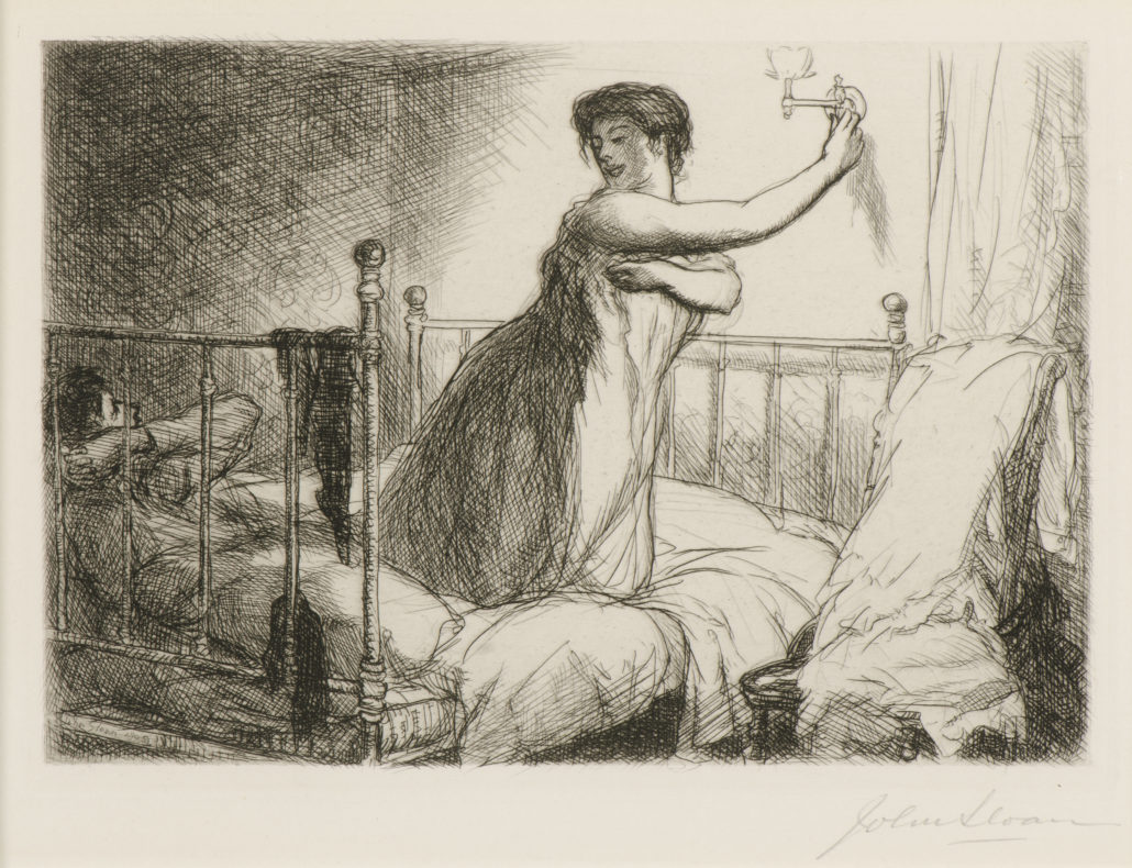 John Sloan Turning Out the Light, 1905 Etching NSU Art Museum Fort Lauderdale; bequest of Ira D. Glackens