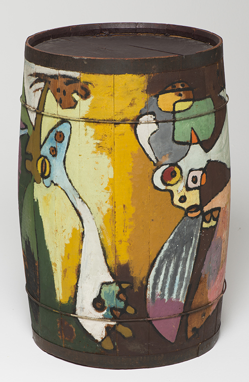 Asger Jorn, Untitled [Shrovetide barrel], c. 1941, oil on wood (barrel), NSU Art Museum Fort Lauderdale; Cobra Collection; gift of Golda and Meyer Marks, M-227