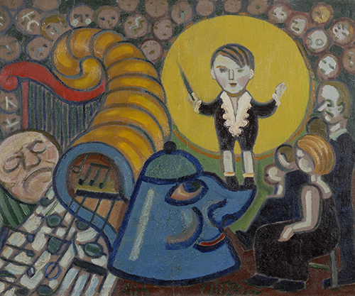 Henry Heerup, Den Lille Dirigent (Little Conductor), 1948, oil on canvas, NSU Art Museum Fort Lauderdale; Cobra Collection; gift of Golda and Meyer Marks, M-357