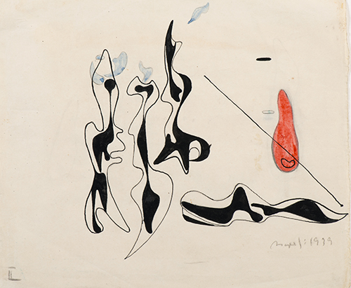 Asger Jorn, Illustration for Genia Katz Rajchmann's The Girl in the Fire (Pigen-I-Ilden), 1939, pen, pencil and watercolor on paper, NSU Art Museum Fort Lauderdale; Cobra Collection; gift of Golda and Meyer Marks, M-43.b