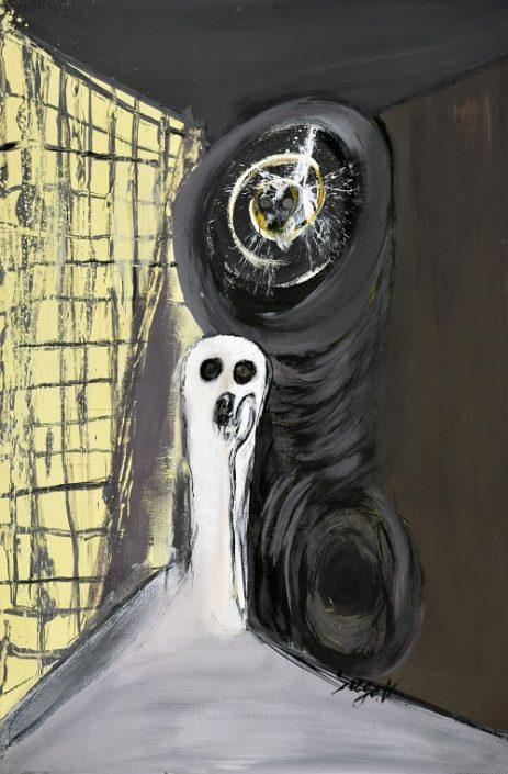 Serge Vandercam L'Echo, 1970 Gouache on paper 43 ½ x 28 ½ in. NSU Art Museum Fort Lauderdale; Cobra Collection; gift from the collection of Stéphane Janssen, AZ, 2018.1 © Estate of Serge Vandercam