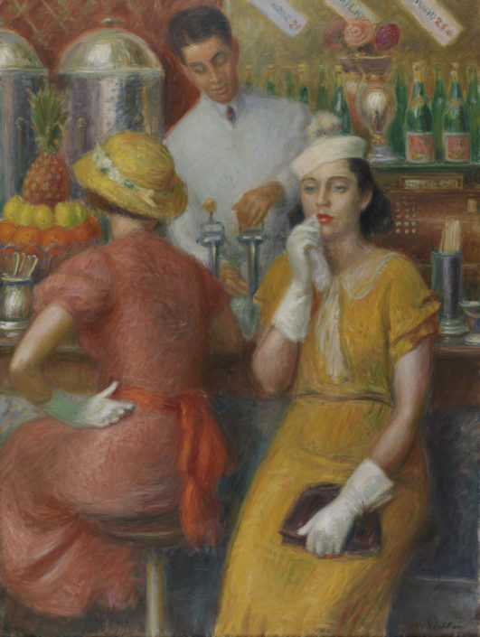 William J. Glackens, Soda Fountain, 1935, oil on canvas, Courtesy of the Pennsylvania Academy of the Fine Arts, Joseph E. Temple Fund and Henry D. Gilpin Fund
