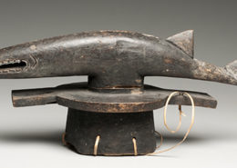 Unidentified Abua Igbo Artist Head Crest with Aquatic Spirit, 20th century Wood, fiber, glass 13 x 28 ½ x 9 ¼ in. NSU Art Museum Fort Lauderdale; gift of Dr. and Mrs. E. Zimmerman, A75..28