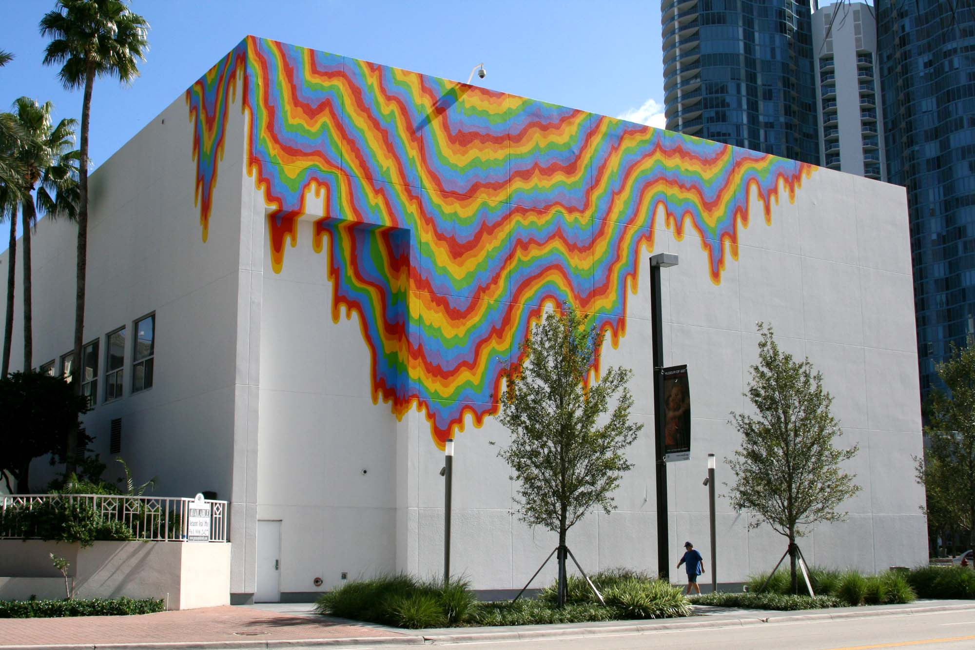 Jen Stark, Acid-Free, 2011, wall painting commissioned by NSU Art Museum Fort Lauderdale, gift of Tina and Carlo Bilotti, by exchange. Located on Andrews Avenue side of building.