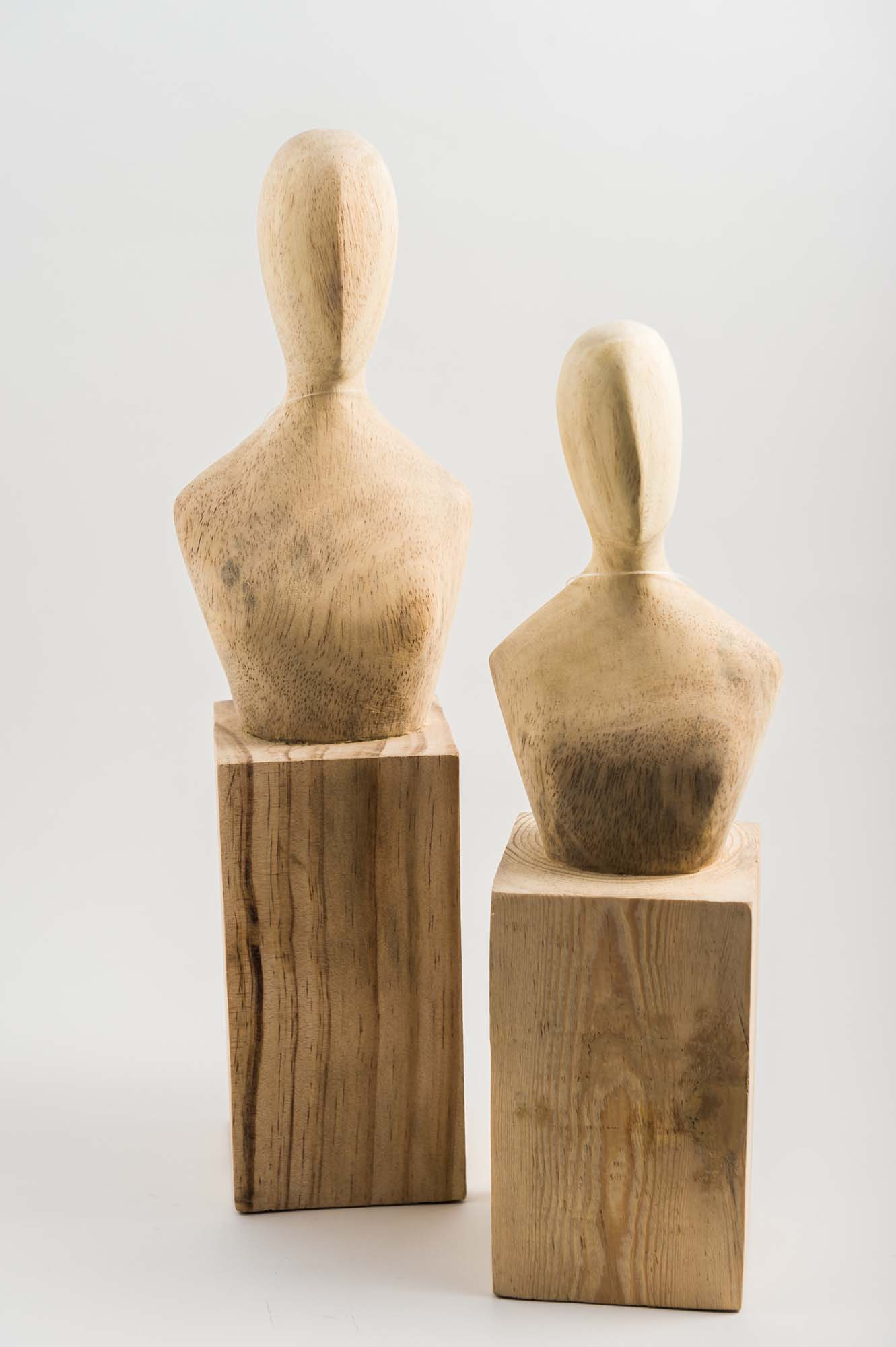 Carved Pine Busts