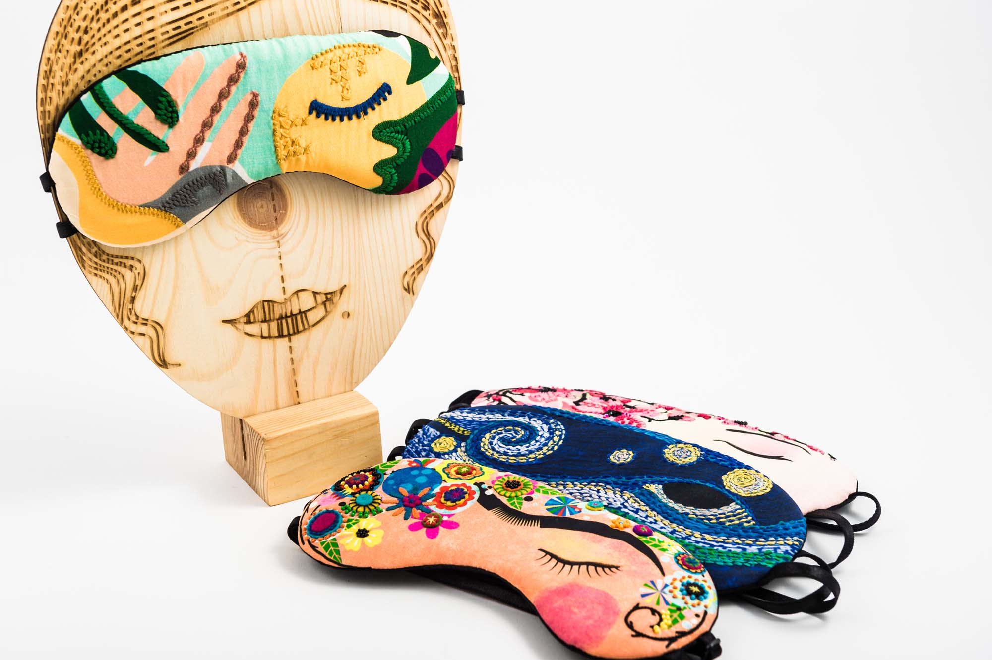 Embroidered Silk Artists Sleep Masks