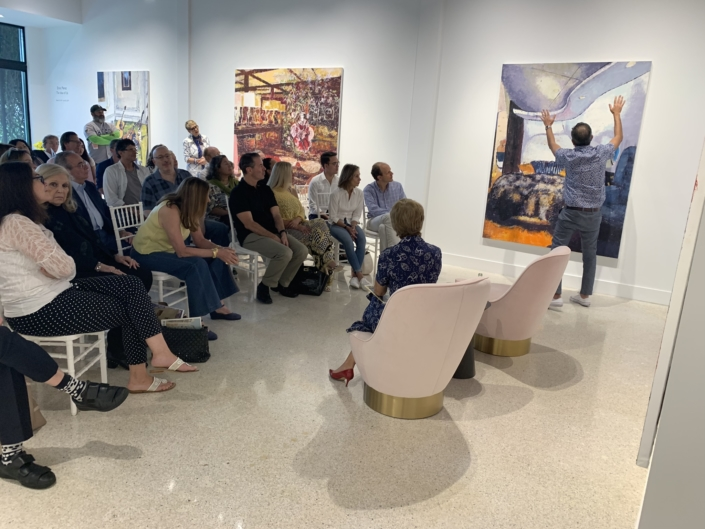 Enoc Perez in conversation with guests at Gavlak Gallery in Palm Beach