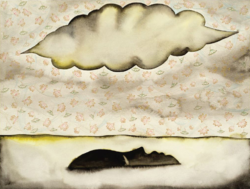 Francesco Clemente (b. 1952, Naples, Italy; lives and works in NYC and Madras, India) A Little Higher, 2015 Watercolor, miniature painting on paper 18 x 24 inches NSU Art Museum Fort Lauderdale; purchased with funds provided by Michael and Dianne Bienes by exchange, 2017.2 © Francesco Clemente