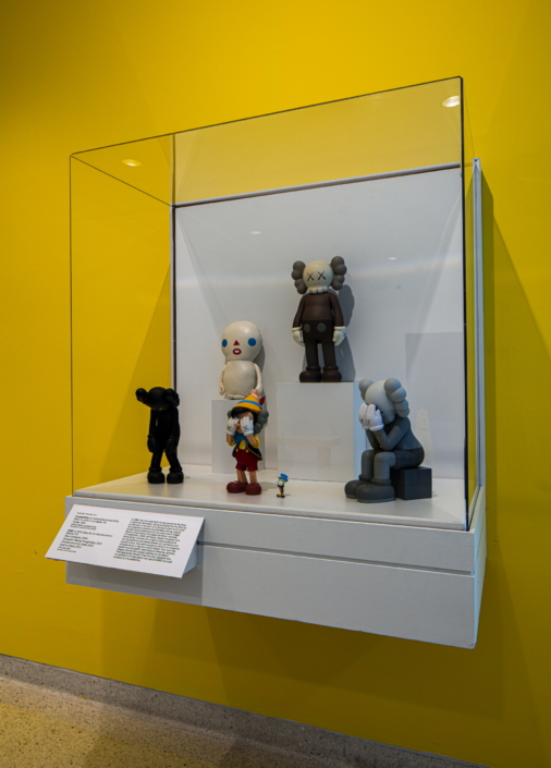 KAWS, Brown COMPANION, 2006. COMPANION: Passing Through (Gray), 2013. Pinocchio and Jiminy Cricket, 2010. Small Lie (Black), 2013.