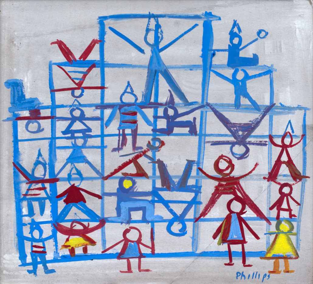 Esther Phillips (b. 1902, Russia; d. 1983, New York, NY) Jungle Gym, Late 1940s - early 1950s Casein and watercolor on paper Framed: 16 in x 17 in / 40.64 cm x 43.18 Private Collection of Renée and Richard Goldman