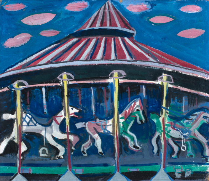 Esther Phillips (b. 1902, Russia; d. 1983, New York, NY) Merry Go Round, Late 1940s early 1950s Casein and watercolor on paper Framed: 20 x 22 inches Private Collection of Renée and Richard Goldman