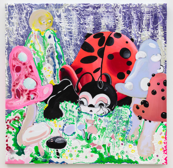 Ladybug, 2018 Oil, plaster, glue paper and flour on canvas Object: 40 in x 40 in / 101.6 cm x 101.6 Courtesy of Rubell Family Collection