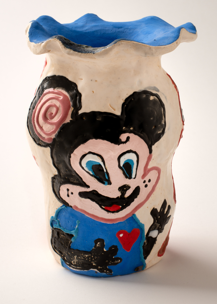Alake Shilling (b. 1993, Los Angeles, CA; lives and works in Los Angeles, CA) Nickey Mouse Vase, 2018 Clay and glaze 6 inches Courtesy of Rubell Family Collection © Alake Shilling