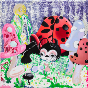 Alake Shilling, Ladybug, 2018, Oil, plaster, glue paper and flour on canvas, Courtesy of Rubell Family Collection © Alake Shilling
