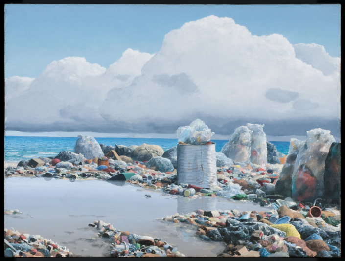 Tomás Sánchez, Basurero en la playa (Trash on the Beach), 1991. NSU Art Museum Fort Lauderdale; promised gift of Stanley and Pearl Goodman
