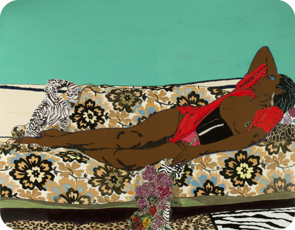 Mickalene Thomas (b.1971, Camden, NJ; lives and works in New York City) Portrait of Mama Bush 1, 2010. NSU Art Museum Fort Lauderdale; promised gift of David Horvitz and Francie Bishop Good © Mickalene Thomas. Courtesy of the artist, Lehman Maupin, New York and Hong Kong, and Artists Rights Society (ARS), New York