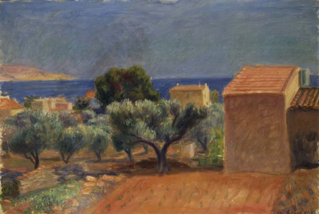 William J. Glackens (b. 1870, Philadelphia, PA; d. 1938, Westport, CT) St. Jean, 1930 Oil on canvas Framed: 25 3/4 in x 34 3/4 in x 1 1/2 in / 65.405 cm x 88.265 cm x 3.81 cm; Object: 20 in x 28 7/8 in / 50.8 cm x 73.3425 Addison Gallery of American Art, Phillips Academy, Andover, Massachusetts, museum purchase, 1936.36
