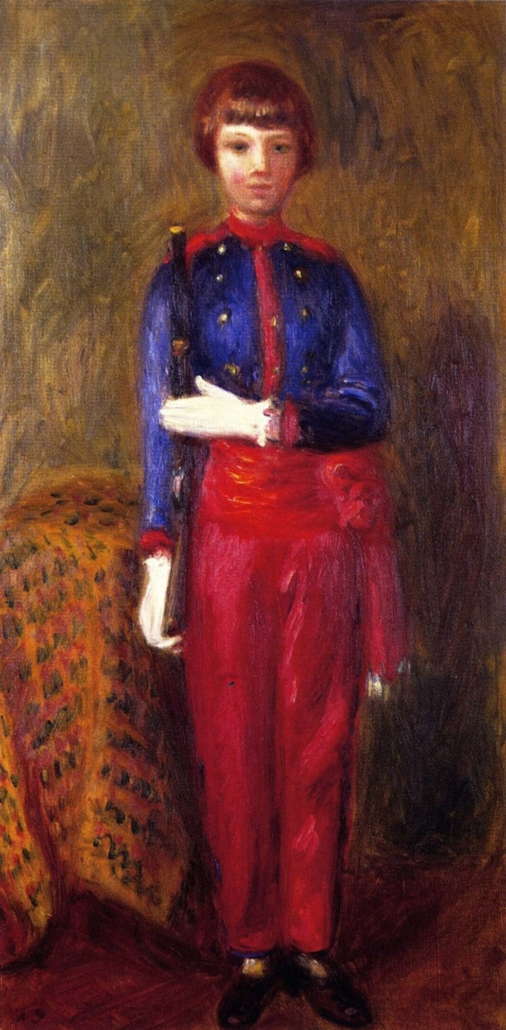William J. Glackens (b. 1870, Philadelphia, PA; d. 1938, Westport, CT) Lenna Dressed as Toy Soldier, c. 1923 Oil on canvas Framed: 31 1/2 in x 18 in x 2 1/4 in / 80.01 cm x 45.72 cm x 5.715 cm; Object: 25 1/4 in x 12 3/4 in / 64.135 cm x 32.385 Private Collection Photograph Will Howcroft