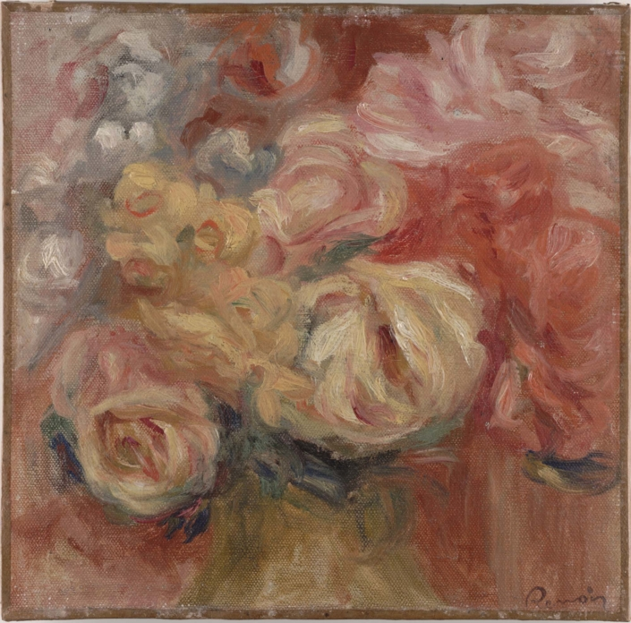 Pierre‐Auguste Renoir (b. 1841, Limoges, France; d. 1919, Cagnes‐sur‐ Mer, France) Flowers (Fleurs), 1915‐1919 Oil on canvas Framed: 16 1/4 in x 16 1/4 in x 2 1/2 in / 41.275 cm x 41.275 cm x 6.35 cm; Object: 9 1/2 in x 9 3/4 in / 24.13 cm x 24.765 Dallas Museum of Art, gift of Mrs. Leslie Waggener in memory of Leslie Waggener, 1957.64
