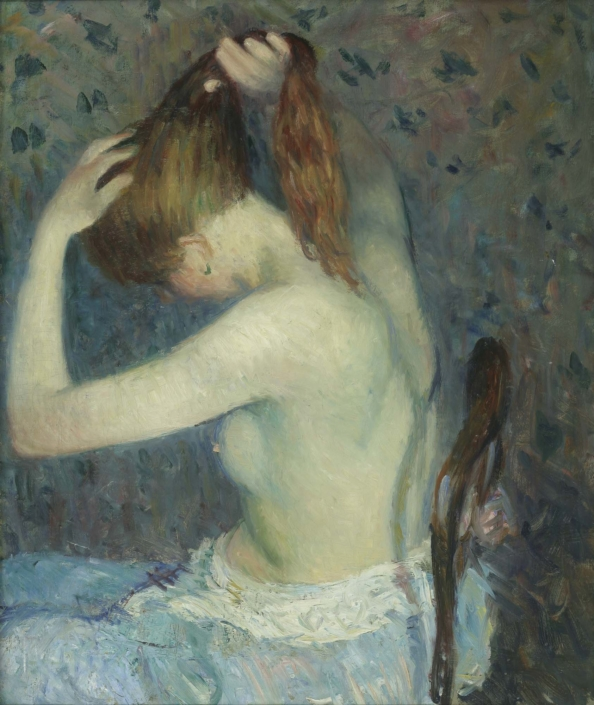 William J. Glackens (b. 1870, Philadelphia, PA; d. 1938, Westport, CT) Nude Dressing Hair, 1909 Oil on canvas Crate: 52 in x 43 in x 11 in / 132.08 cm x 109.22 cm x 27.94 cm; Framed: 37 1/2 in x 32 1/4 in / 95.25 cm x 81.915; Object: 30 in x 25 in / 76.2 cm x 63.5 Courtesy of Lehigh University Art Galleries •Teaching Museum