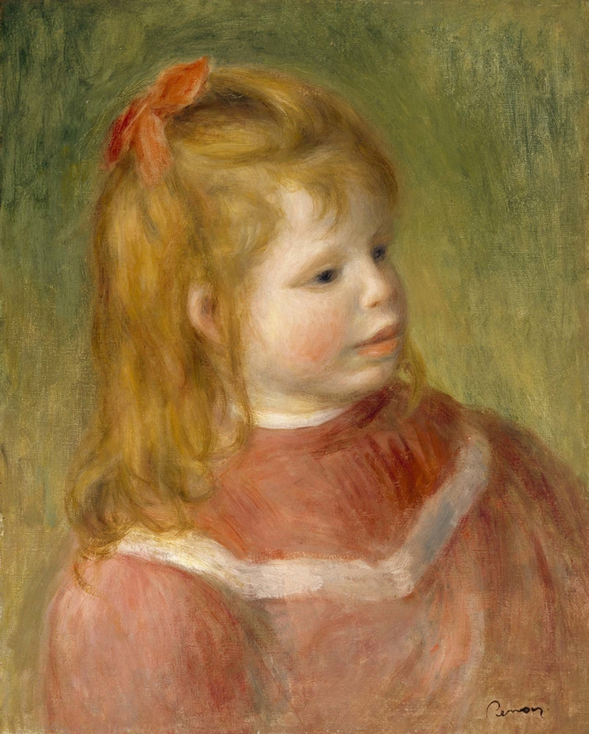 Pierre‐Auguste Renoir (b. 1841, Limoges, France; d. 1919, Cagnes‐sur‐ Mer, France) Portrait of Jean (Portait de Jean Renoir en rouge), c. 1897 Oil on canvas Framed: 26 1/2 in x 23 3/8 in / 67.31 cm x 59.3725; Object: 16 3/8 in x 13 1/4 in / 41.5925 cm x 33.655 The Museum of Fine Arts, Houston, Gift of Isaac and Agnes Cullen Arnold, 68.55