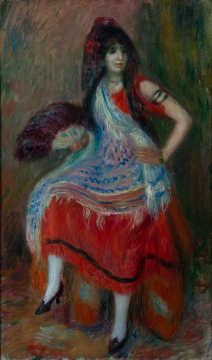 William J. Glackens (b. 1870, Philadelphia, PA; d. 1938, Westport, CT) Andalusian Woman, c. 1920s Oil on canvas Framed: 34 3/8 in x 22 3/8 in / 87.3125 cm x 56.8325; Object: 30 in x 18 in / 76.2 cm x 45.72 Collection of the Meadows Museum of Art, Centenary College of Louisiana, Gift of Dr. David C. Kimball, 1999.2
