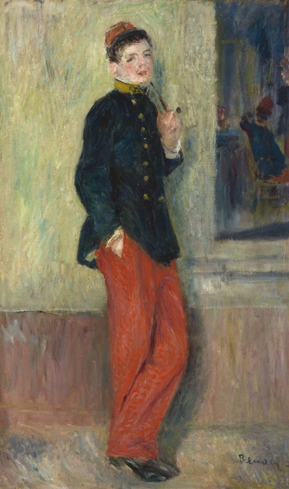 Pierre‐Auguste Renoir (b. 1841, Limoges, France; d. 1919, Cagnes‐sur‐ Mer, France) The Young Soldier (Le jeune militaire), c. 1880 Oil on canvas Framed: 27 in x 18 1/8 in x 1 3/4 in / 68.58 cm x 46.0375 cm x 4.445 cm; Object: 21 5/8 in x 13 in / 54.9275 cm x 33.02 National Gallery of Art, Washington, Collection of Mr. and Mrs. Paul Mellon, 2014.18.46