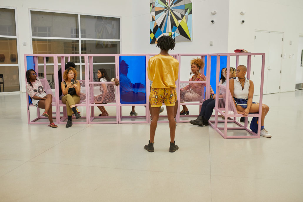 GeoVanna Gonzalez, PLAY, LAY, AYE: Navigating queerness, where space is always in flux | ACT I, 2019. Painted steel, expanded metal and plexiglass, Dimensions Variable. Image Vaco Studio, courtesy of the artist.